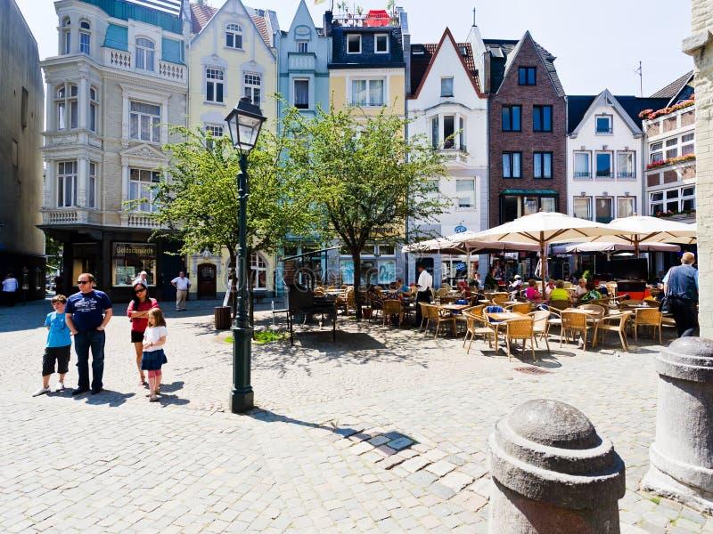 Munsterplatz在亚琛,德国 库存照片