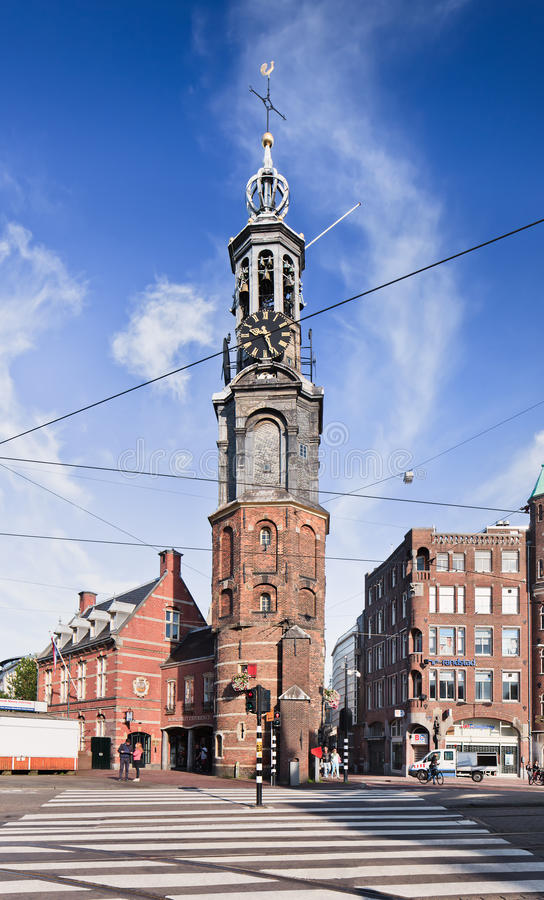 The Munt Tower with zebra path in front, Amsterdam, Netherlands royalty free stock image
