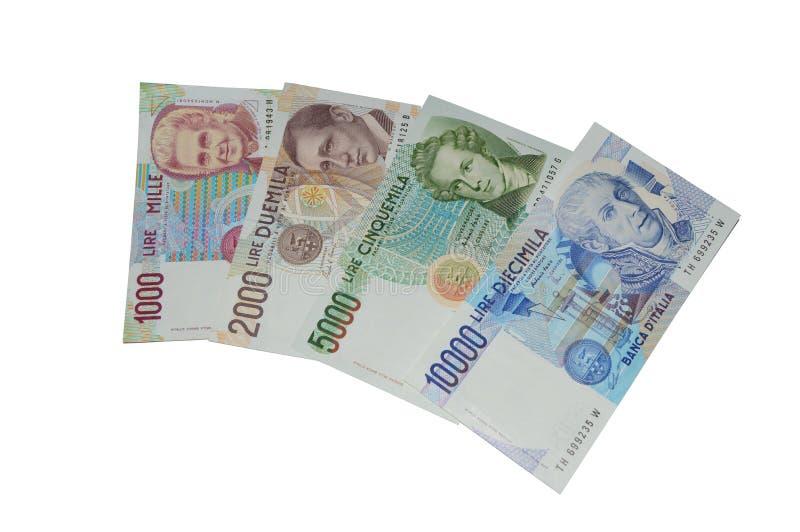 Munt van Lires de oude Italiaanse bankbiljetten stock afbeelding