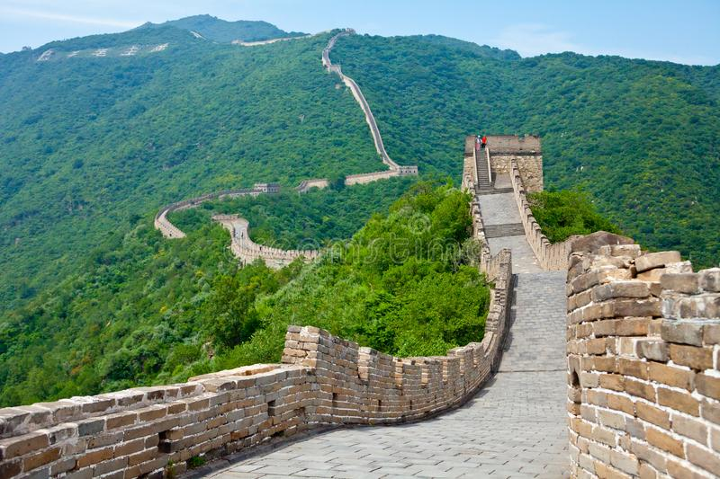 Muntianyu great wall china panoramic view. Muntianyu July 2011 - In July many visitors visit the Great Wall that was built to protect the various dynasties from stock photos