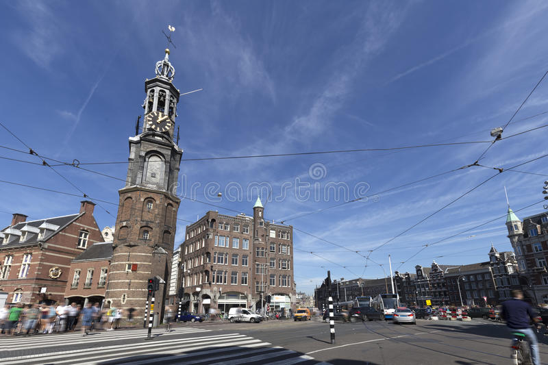 Muntplein square with the Munttoren royalty free stock images
