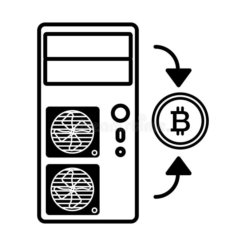 Muntstuk, computer, bitcoin lijnpictogram Vectordieillustratie op wit wordt geïsoleerd het ontwerp van de overzichtsstijl, voor W royalty-vrije illustratie