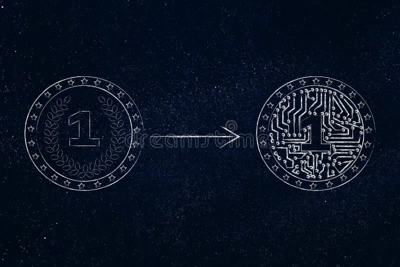 Muntstuk die nieuwe met elektronische binnen kringen worden royalty-vrije illustratie