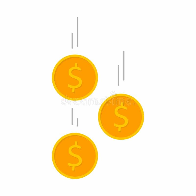 Muntstuk, Dollar, Financiën, Zaken, Geen achtergrond, Vector, Vlak pictogram, Dalende muntstukken, dalend geld, vliegende gouden stock illustratie