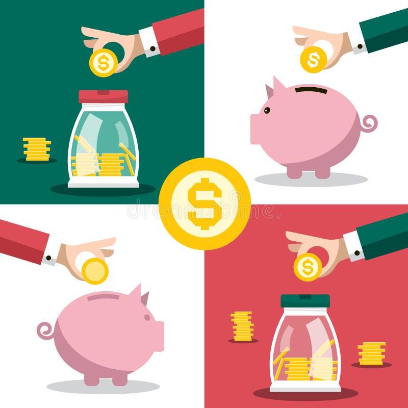 Muntstuk en papiergeld Bedrijfsconcept met Handen en Spaarvarkens De vector Vlakke Illustratie van Ontwerpbesparingen stock illustratie