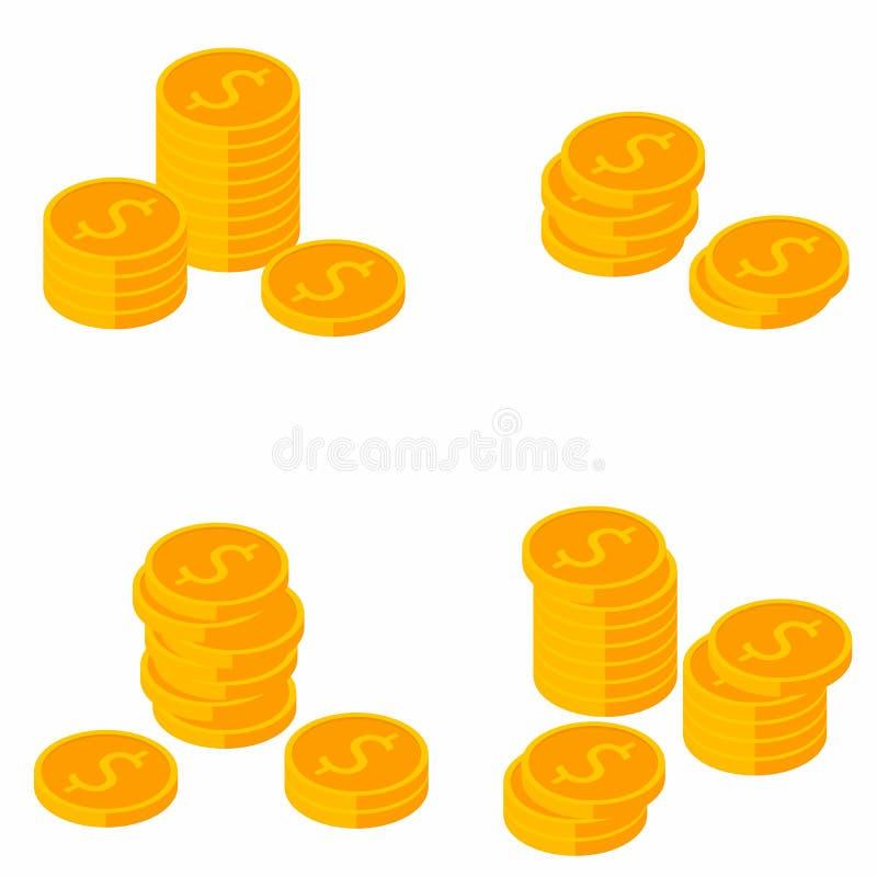 Muntstuk, Isometrische Dollar, Stapel van geld, Financiën, Zaken, Geen achtergrond, Vector, Vlak pictogram, Dollarsbundels, Goud vector illustratie