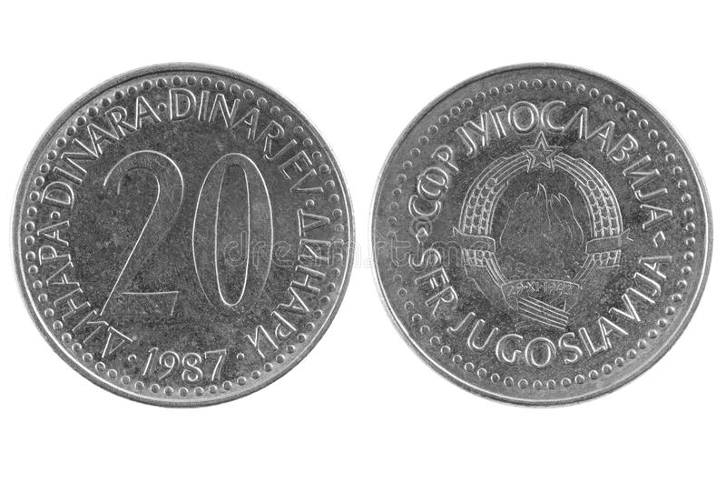 Muntstuk 20 Joegoslavische dinar royalty-vrije stock foto's