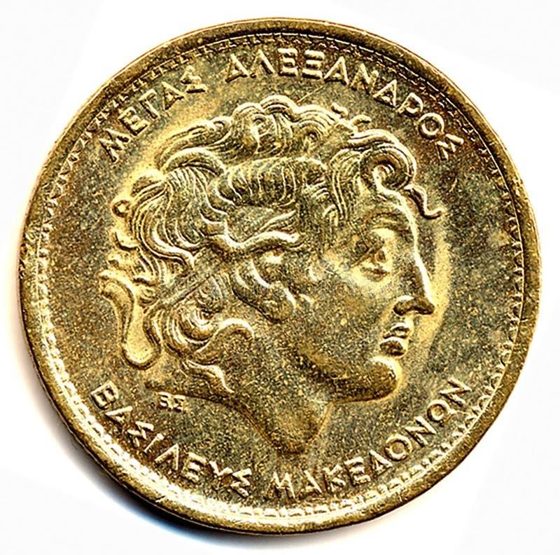 Muntstuk met het beeld van Alexander van Macedonië stock fotografie