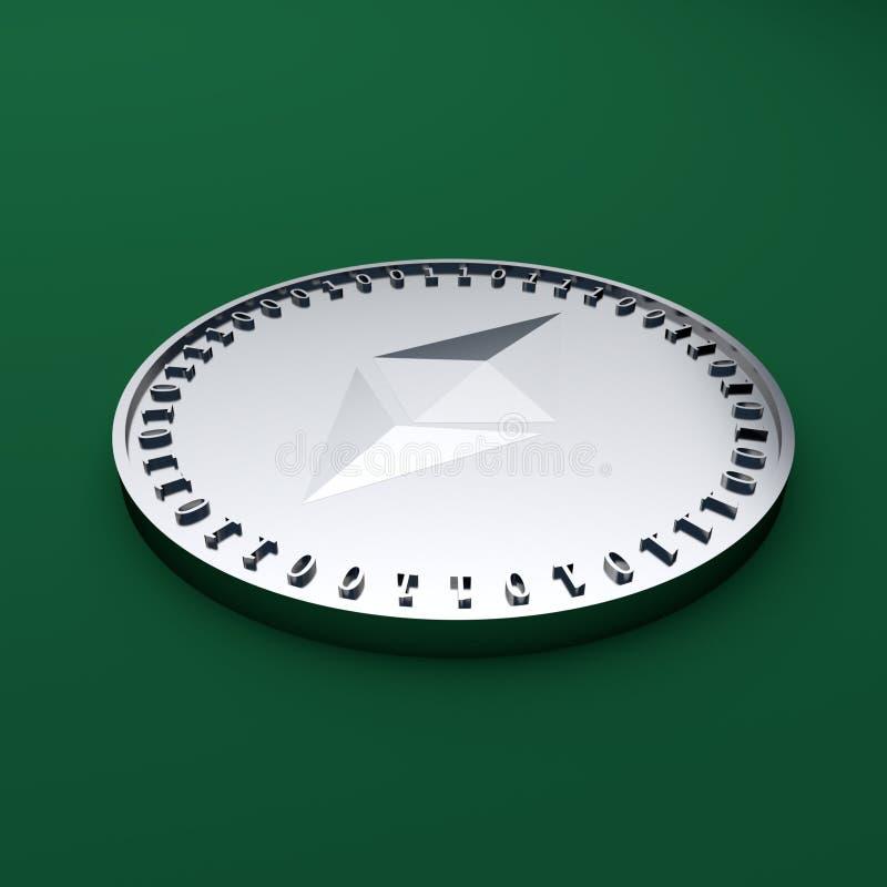 Muntstuk met het symbool van de digitale crypto munt Ethereum die op de groene doek, het 3D teruggeven liggen royalty-vrije illustratie