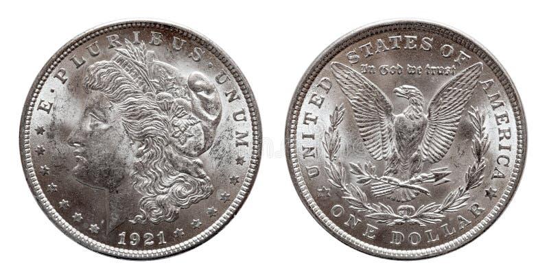 Muntstuk van de V.S. Morgan Silver Dollar minted 1921, ge?soleerd op wit royalty-vrije stock fotografie