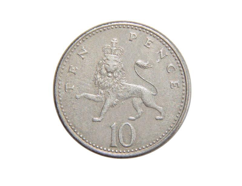 Muntstuk van Groot-Brittannië 10 pence stock afbeelding