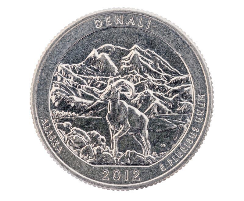 Muntstuk van het Denali het Herdenkingskwart stock fotografie