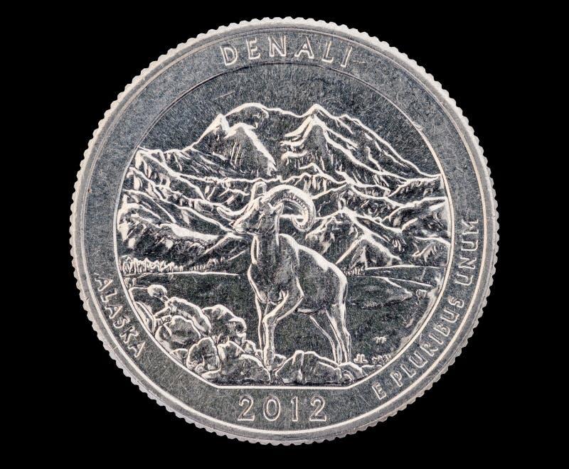 Muntstuk van het Denali het Herdenkingskwart stock afbeeldingen