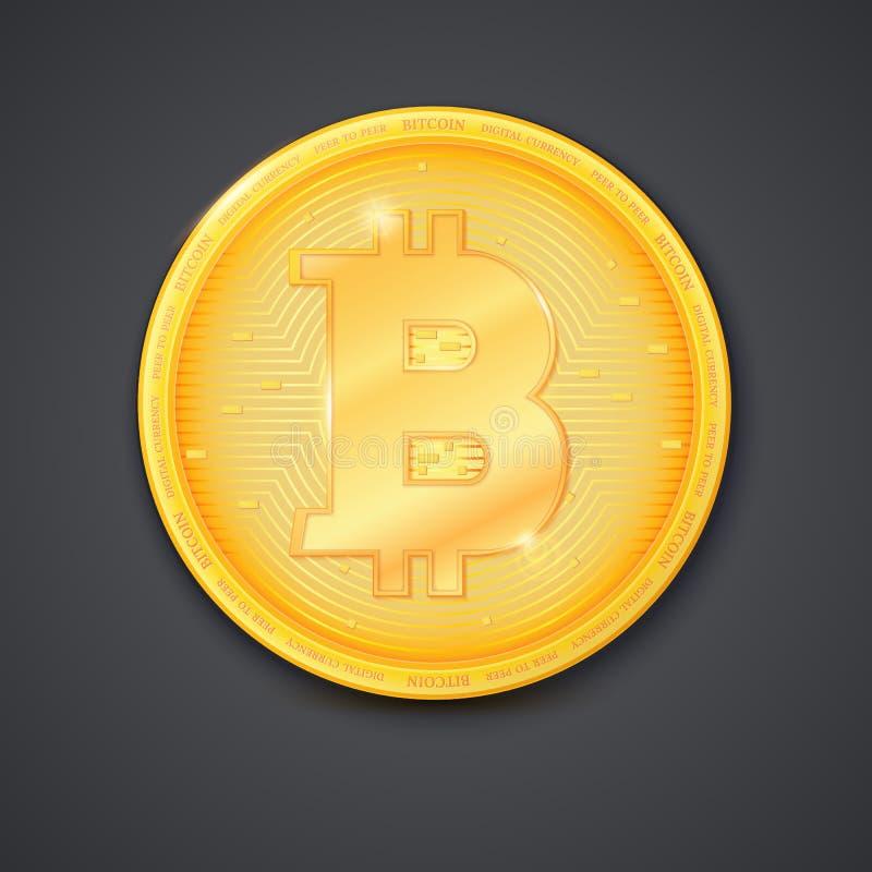 Muntstuk van virtuele munt Bitcoin met schaduw Pictogram van gouden geld, symbool die van geïsoleerde bitcoin, op donkere achterg vector illustratie