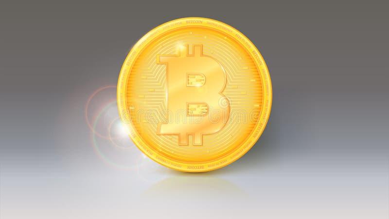 Muntstuk van virtuele munt Bitcoin met zonglans en bezinningen over de obvers Pictogram, gouden geld van bitcoin  royalty-vrije illustratie