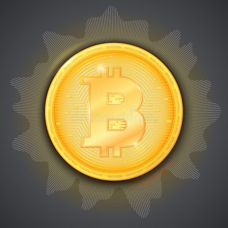 Muntstuk van virtuele munt Bitcoin Pictogram van gouden geld Symbool van technologiecrypto munt op de donkere achtergrond met vector illustratie