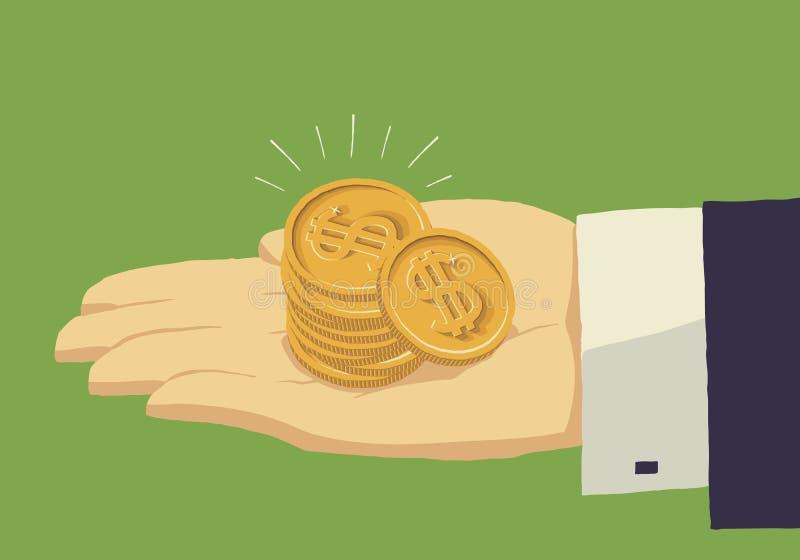 Muntstukken met een dollarteken in de hand van de zakenman royalty-vrije illustratie