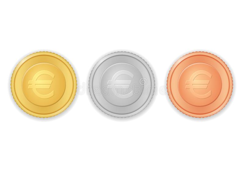 Muntstukken met euro symbool royalty-vrije illustratie