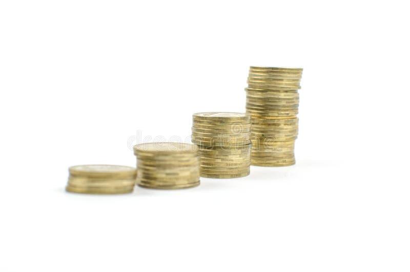 muntstukken op een geïsoleerde achtergrond Besparingsgeld, die voor de totstandbrenging van een droom accumuleren stock afbeelding