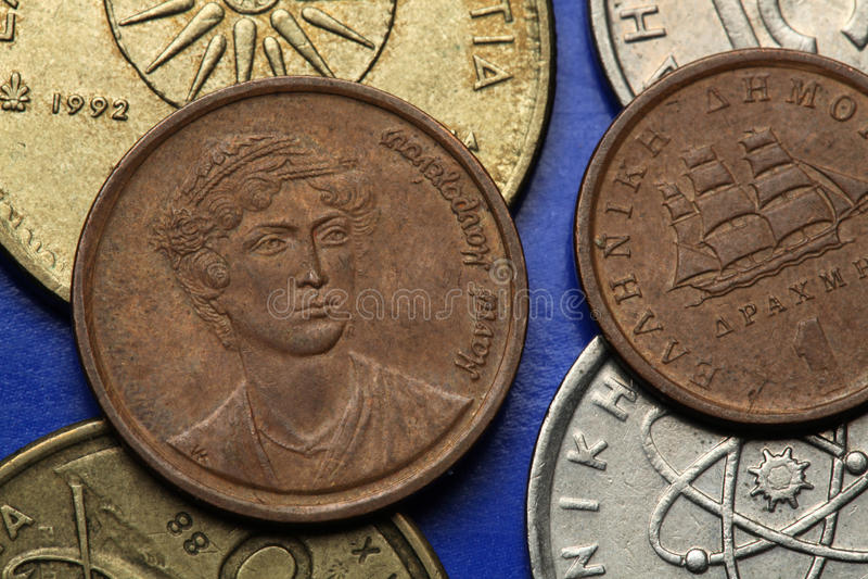 Muntstukken van Griekenland stock afbeeldingen