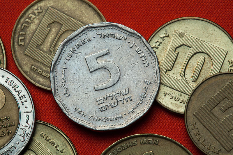 Muntstukken van Israël stock afbeelding