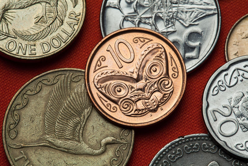Muntstukken van Nieuw Zeeland Maori Gravure stock afbeelding