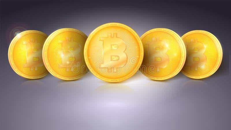 Muntstukken van virtuele munt Bitcoin met glans en bezinningen Gouden geld van bitcoin Symbool van technologie, pictogram van vector illustratie