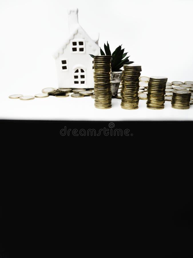 Muntstukstapel, huis, bloem, besparingenplannen voor huisvesting, financieel concept, het onroerende goed van de Hypotheeklading  stock afbeeldingen