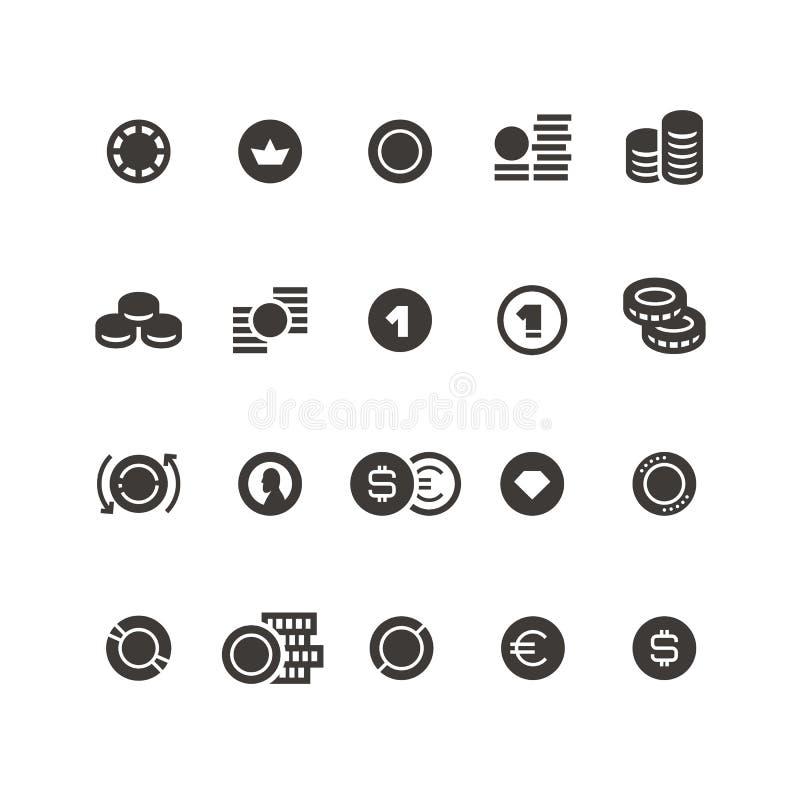 Muntstuktekens De gestapelde muntstukken, dollar, geld, fonds, schenken en innen vector geïsoleerde pictogrammen royalty-vrije illustratie