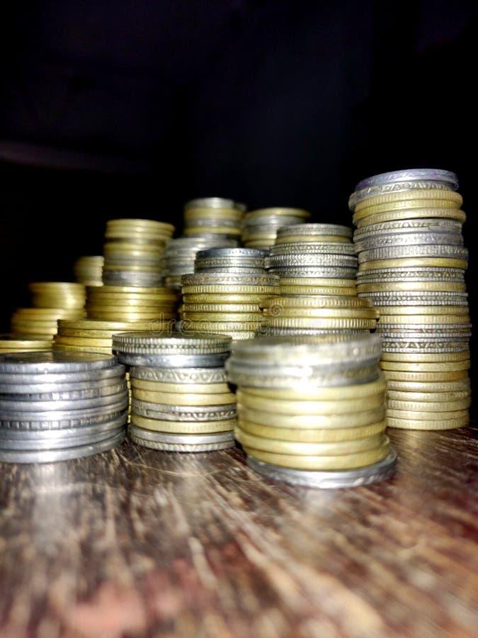 Muntstukvoorraad imeges op financiën stock afbeelding