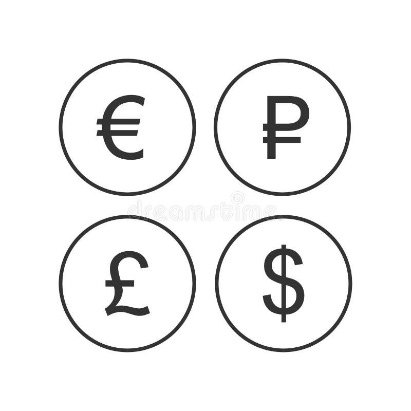Muntteken, euro, roebel, dollar, de pictogrammen van pond Sterlinglibra op een witte achtergrond worden geïsoleerd die EUR-DE MUN royalty-vrije illustratie