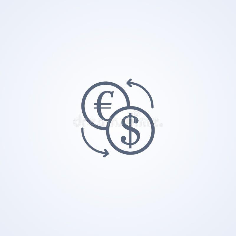 Muntuitwisseling, vector beste grijs lijnpictogram royalty-vrije illustratie