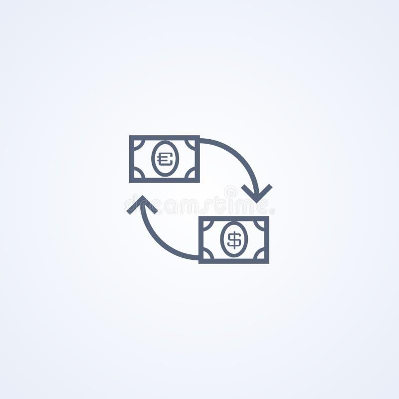 Muntuitwisseling, vector beste grijs lijnpictogram stock illustratie