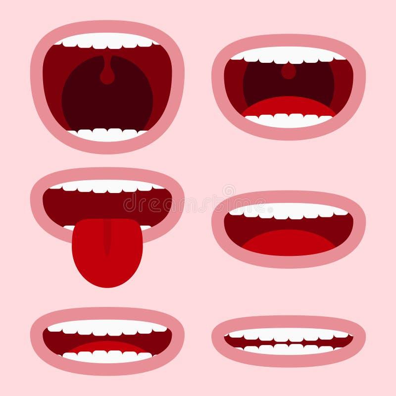Munuppsättning med olika uttryck Tecknad filmframsidabeståndsdelar med sinnesrörelser - le och att skrika och att visa tungan och vektor illustrationer
