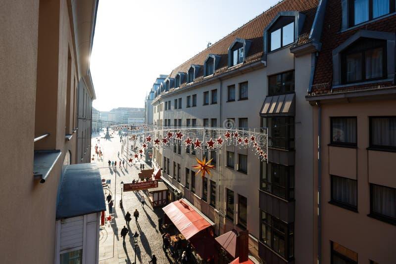Munzgasse - Voetstraat in Dresden royalty-vrije stock foto