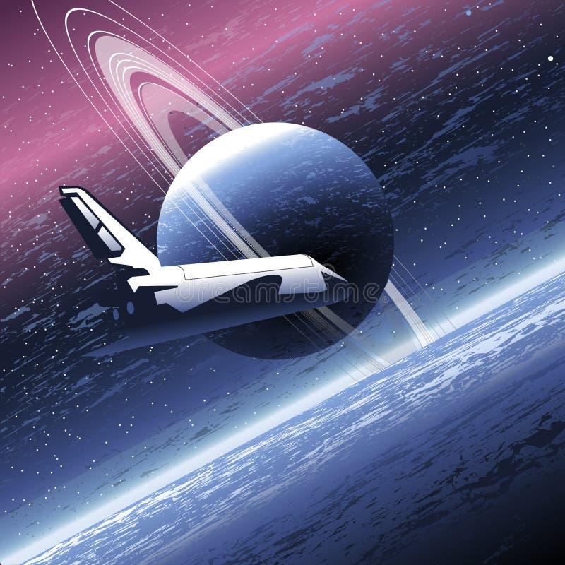 Muova nello spazio che orbita un grande pianeta con molti anelli royalty illustrazione gratis