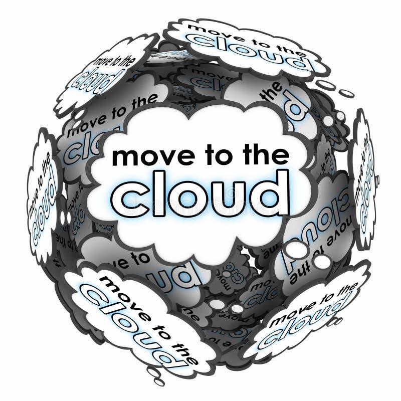 Muova verso i server online dello spostamento di piano di idee di pensieri di parole della nuvola royalty illustrazione gratis