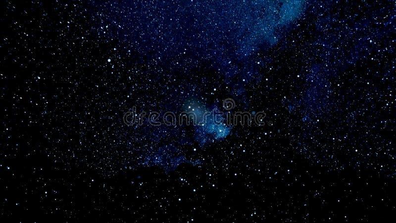 Muovendosi attraverso lo spazio stellare, bella astrazione con le stelle blu dell'universo, concetto di infinito animazione Un vi illustrazione vettoriale