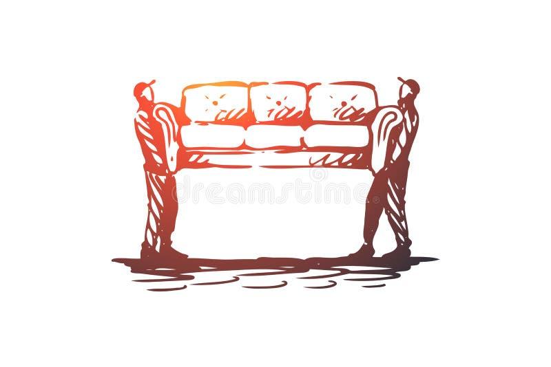 Muovendosi, sofà, mobilia, consegna, concetto del trasporto Vettore isolato disegnato a mano illustrazione di stock
