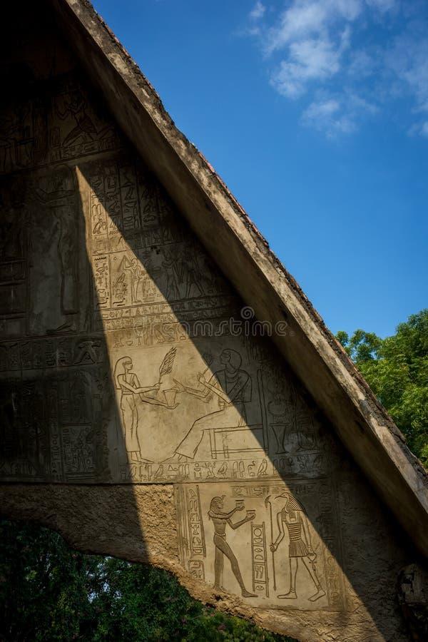 Mur égyptien d'hiéroglyphe image libre de droits