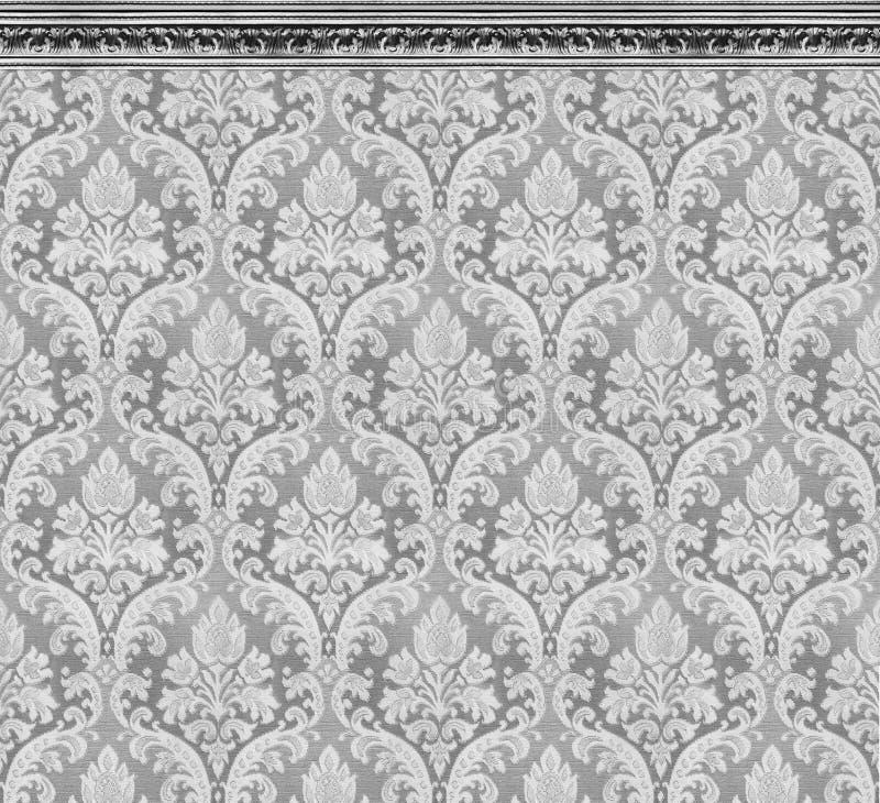 Mur élégant du bâti de Gray Damask Wallpaper With Ornate image libre de droits