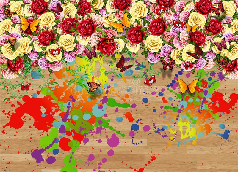 Mur abstrait Art Floral Colors Butterfly Design illustration stock