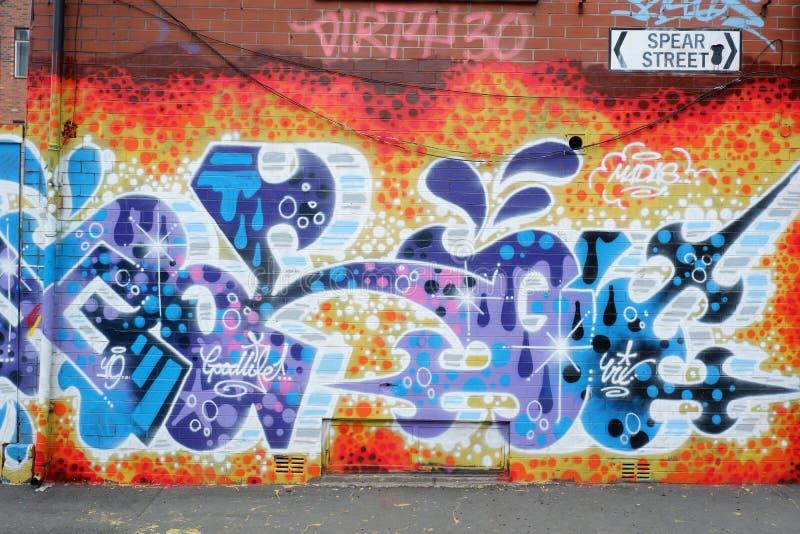 Mur artistique de graffiti coloré à Manchester photos libres de droits