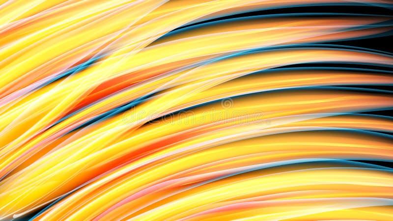 Mur au néon ardent cosmique magique de belle habit bariolé énergie jaune-orange lumineuse d'abrégé sur des lignes et des rayures, illustration stock