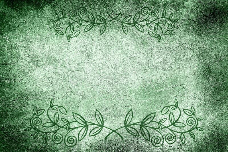Mur avec des fissures et la conception florale illustration libre de droits