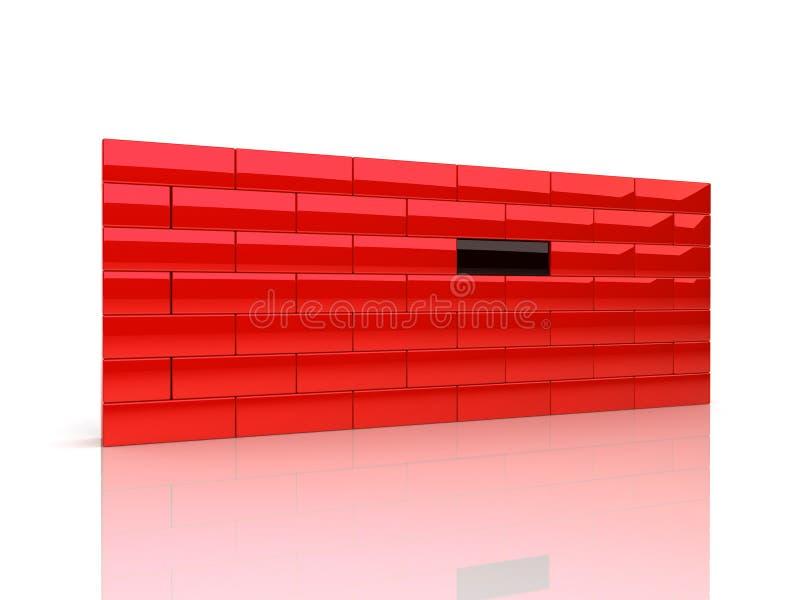 Mur avec la seule brique illustration de vecteur
