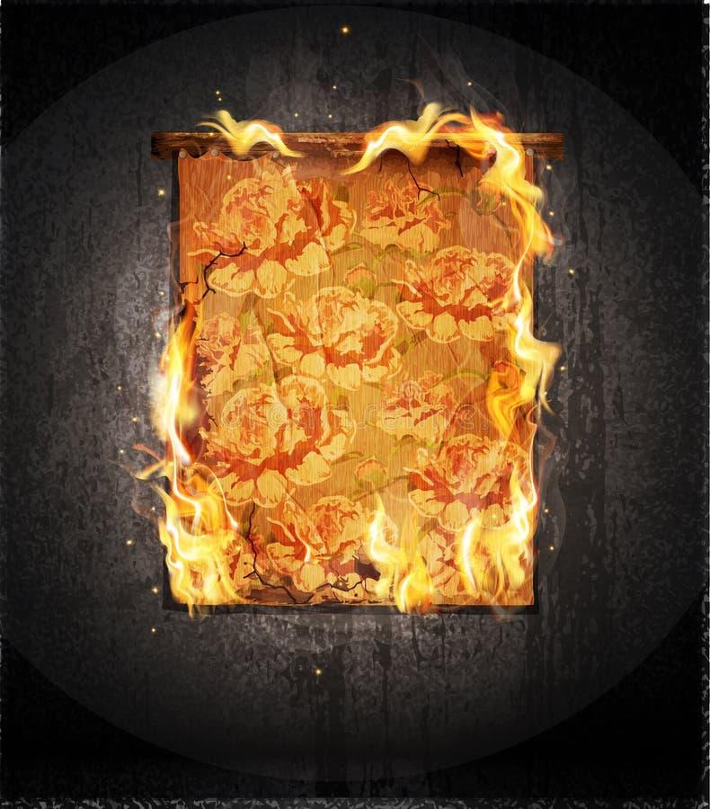 mur avec rougeoyer, tapisserie antique brûlante illustration libre de droits