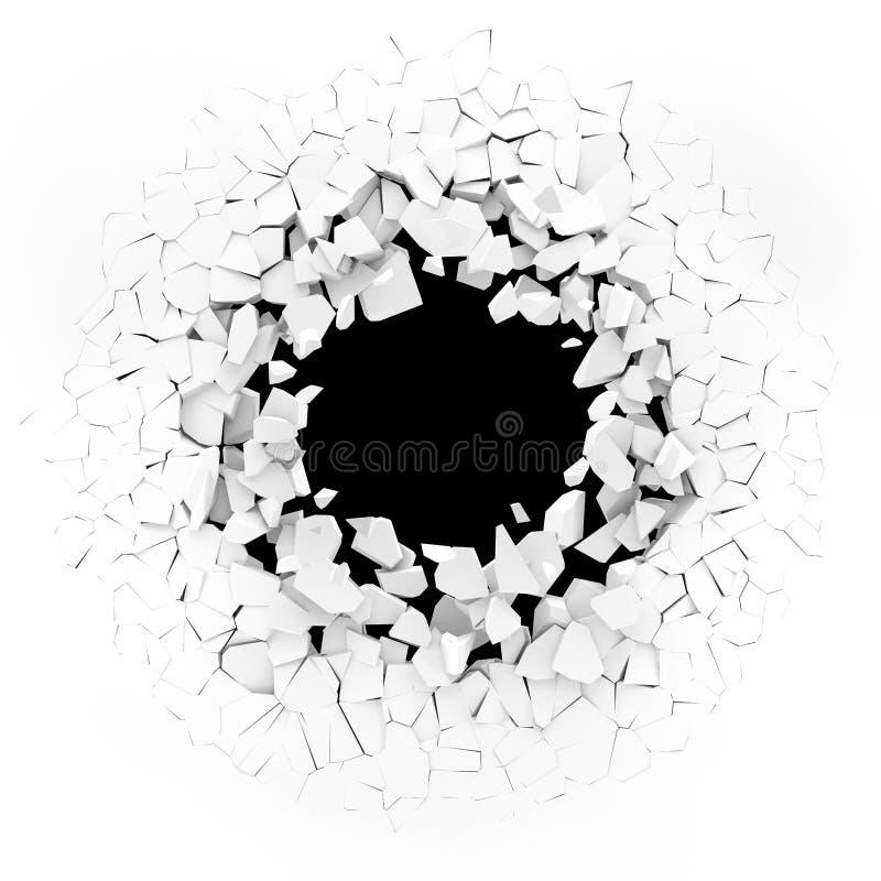 Mur blanc éclatant dans des morceaux illustration libre de droits