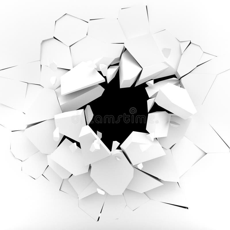 Mur blanc éclatant dans des morceaux illustration stock