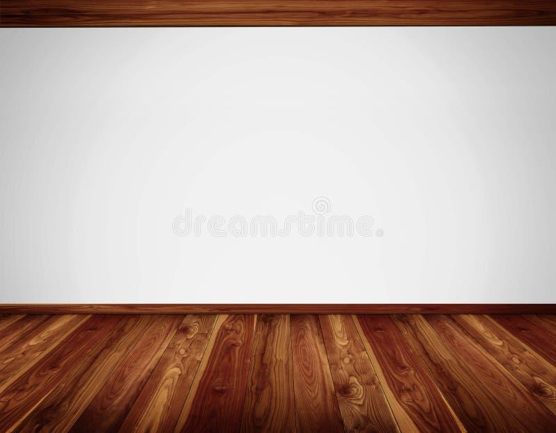 Mur blanc avec la construction de plafond de bois de construction et le plancher en bois image stock